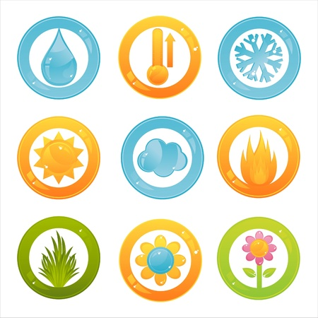 set of 9 colorful nature buttons Stock Vector - 11386368