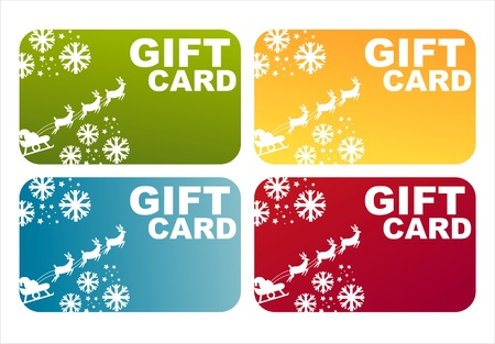 set of 4 colorful christmas gift cards Vector