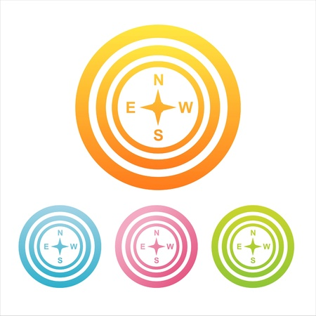 set of 4 colorful compass signs Illustration