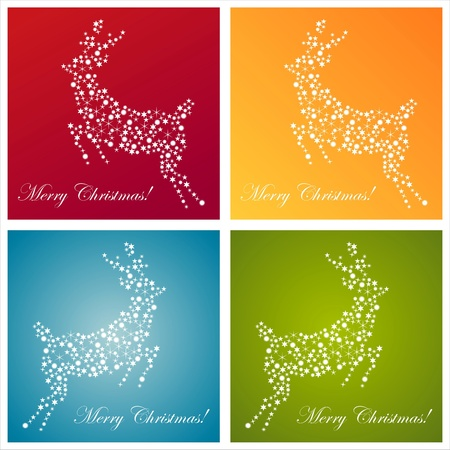 set of 4 christmas deer made of stars backgrounds
