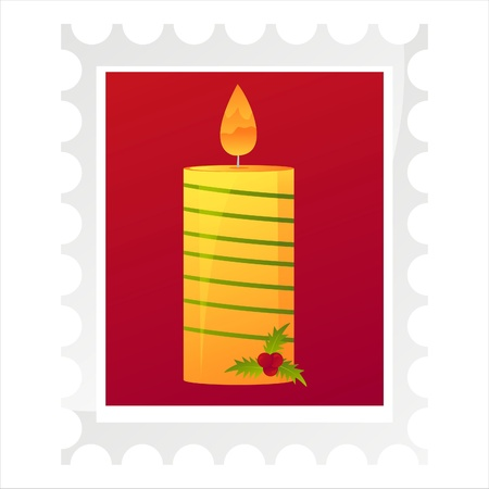 christmas post stamp with candle isolated on white