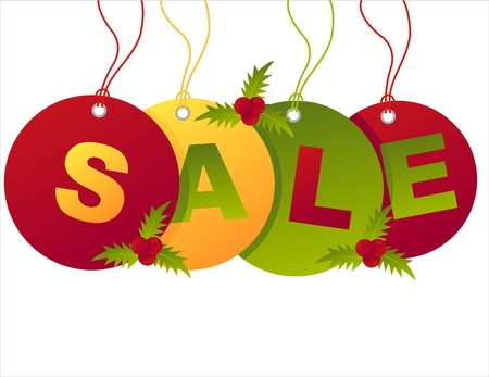 christmas sale tags isolated on white Illustration