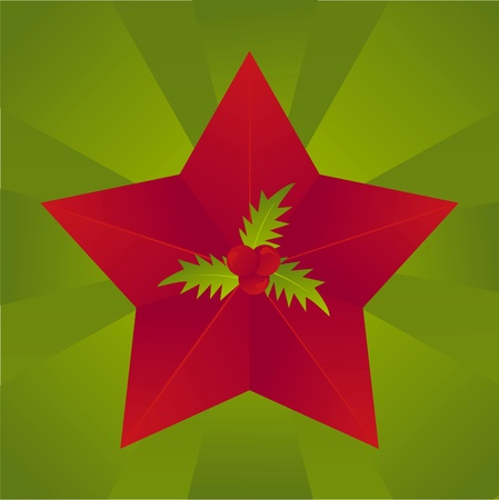 red christmas star with berry background Illustration