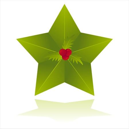 green christmas star isolated on white Illustration