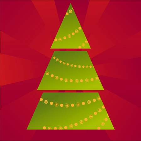 christmas tree decorated with stars over red background