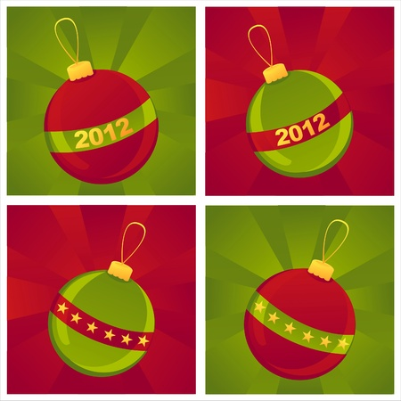 set of 4 christmas balls backgrounds Illustration