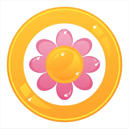 colorful flower button isolated on white
