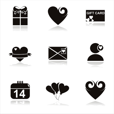 set of 9 black st. valentines day icons