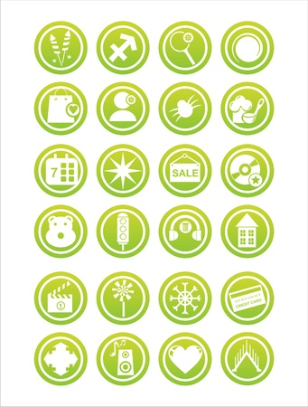 set of 21 green web signs Illustration