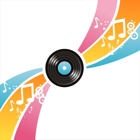 colorful musical vinyl record background