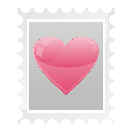 post stamp with glossy heart isolated on white