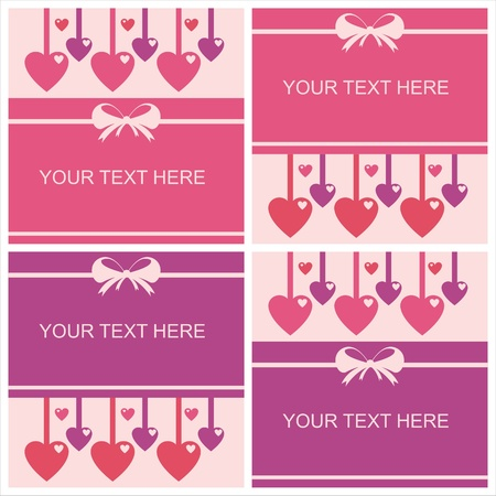 set of 4 cute st. valentines day cards Illustration
