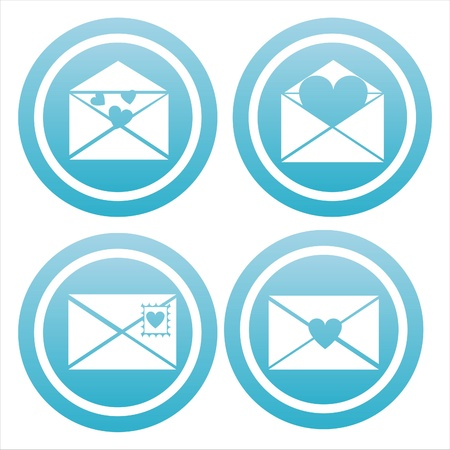 set of 4 blue love letters signs Illustration