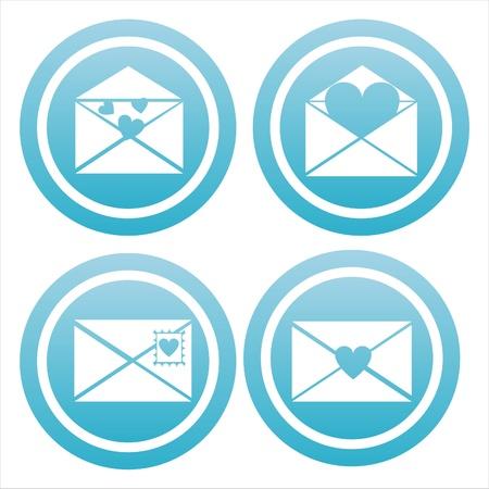 set of 4 blue love letters signs Illustration