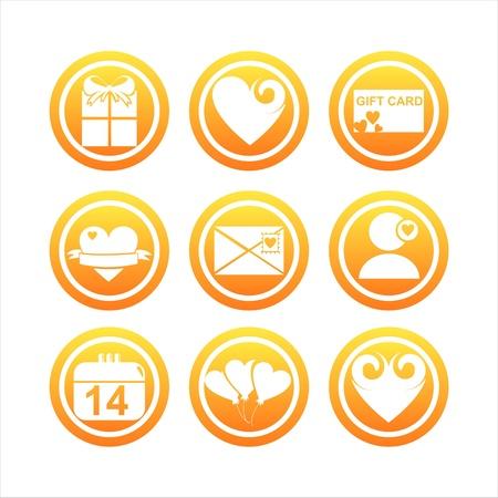 st valentines day: set of 9 orange st. valentines day signs