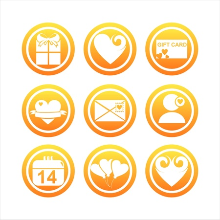 set of 9 orange st. valentine's day signs Stock Vector - 12025434