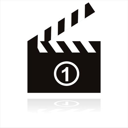 black cinema icon isolated on white