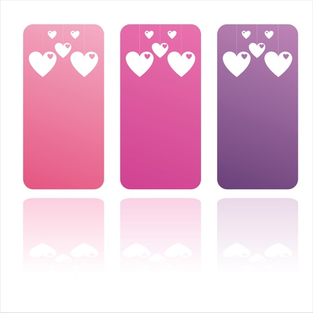 set of 3 colorful st. valentines day banners Illustration