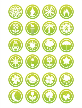 set of 21 green nature signs Vector