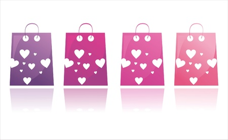 set of 4 st. valentine  day shopping bags