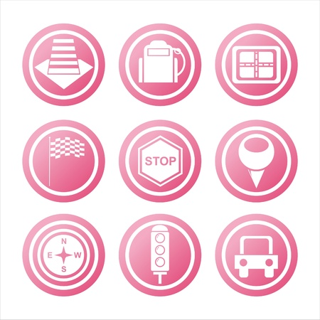 set of 9 pink traffic signs Illustration