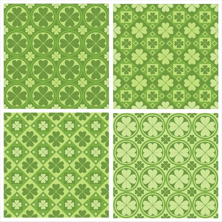 set of 4 cute clovers patterns Vector