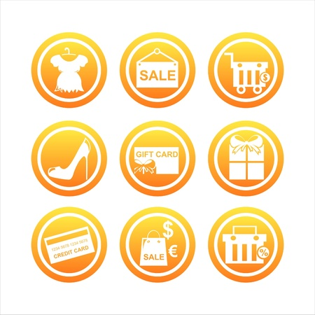set of 9 orange shopping signs