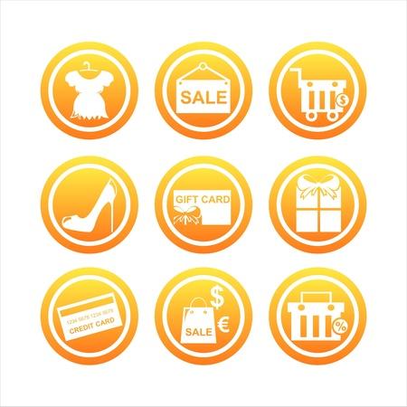 set of 9 orange shopping signs Stock Vector - 12414185
