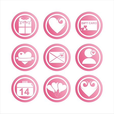 set of 9 pink st. valentine s day signs Stock Vector - 12414178