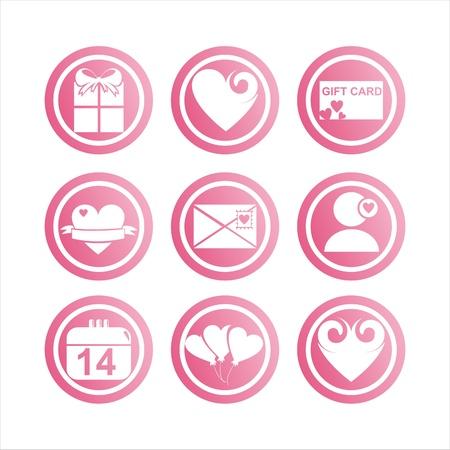 st valentine  s day: set of 9 pink st. valentine s day signs