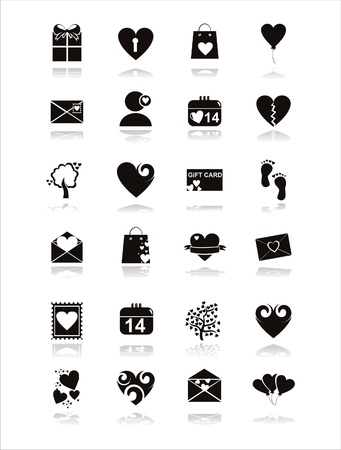 set of 21 black st. valentine s day icons Stock Vector - 12414165