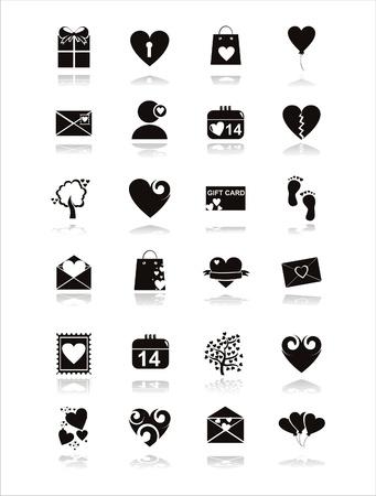 st valentine  s day:  set of 21 black st. valentine s day icons