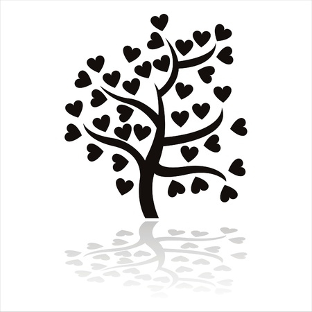 black tree icon with hearts isolated on white