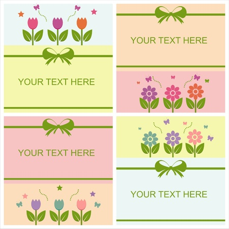 set of 4 cute spring cards Vector