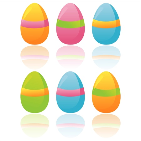 set of 6 colorful easter eggs