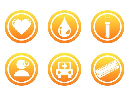 set of 6 orange medical signs
