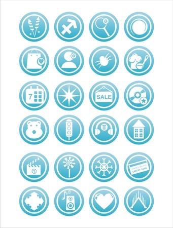 set of 21 blue web signs