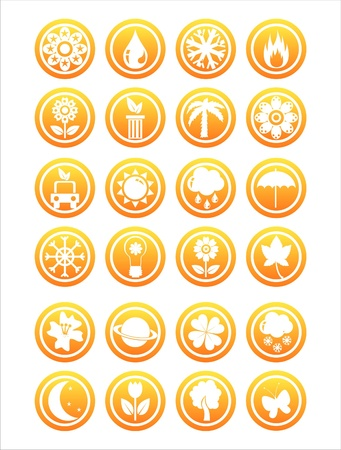 set of 21 orange nature signs Stock Vector - 12928677