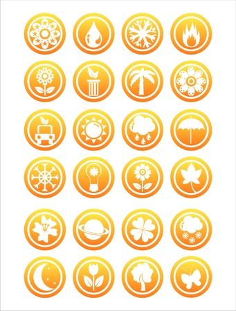 set of 21 orange nature signs