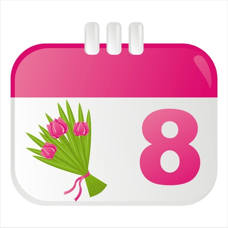 8th of march calendar icon with tulips Vector