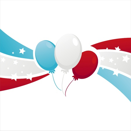 background with american colored balloons Stock Vector - 13910739