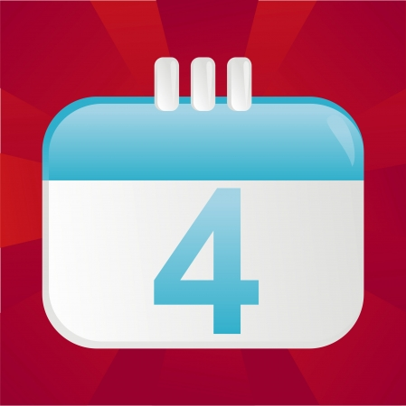 4th of July calendar icon over red background