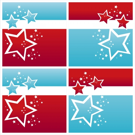set of 4 american colored stars backgrounds Illustration