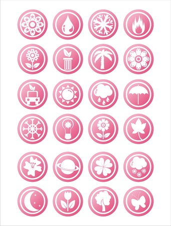 set of 21 pink nature signs Illustration