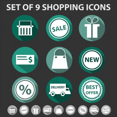 set of 9 trendy shopping icons with long shadows Illustration
