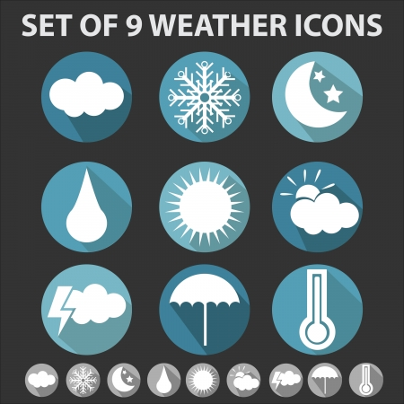 set of 9 trendy weather icons with long shadows