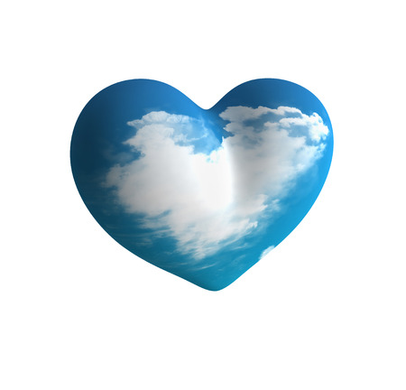 plastic heart: Plastic blue heart with cloud inside Stock Photo