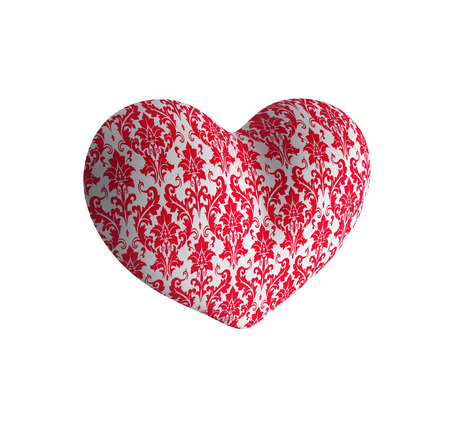 plastic heart: Plastic heart with a red pattern