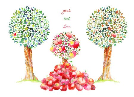 allegory painting: drawing watercolor apples fall up from the trees