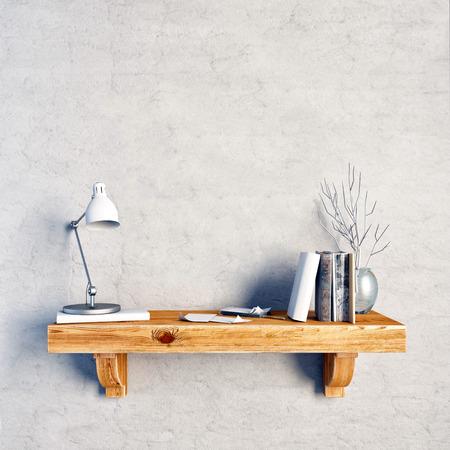3d illustration, still life on a shelf.  loft style. wall mock up